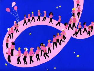 A breast cancer walk along a pink ribbon