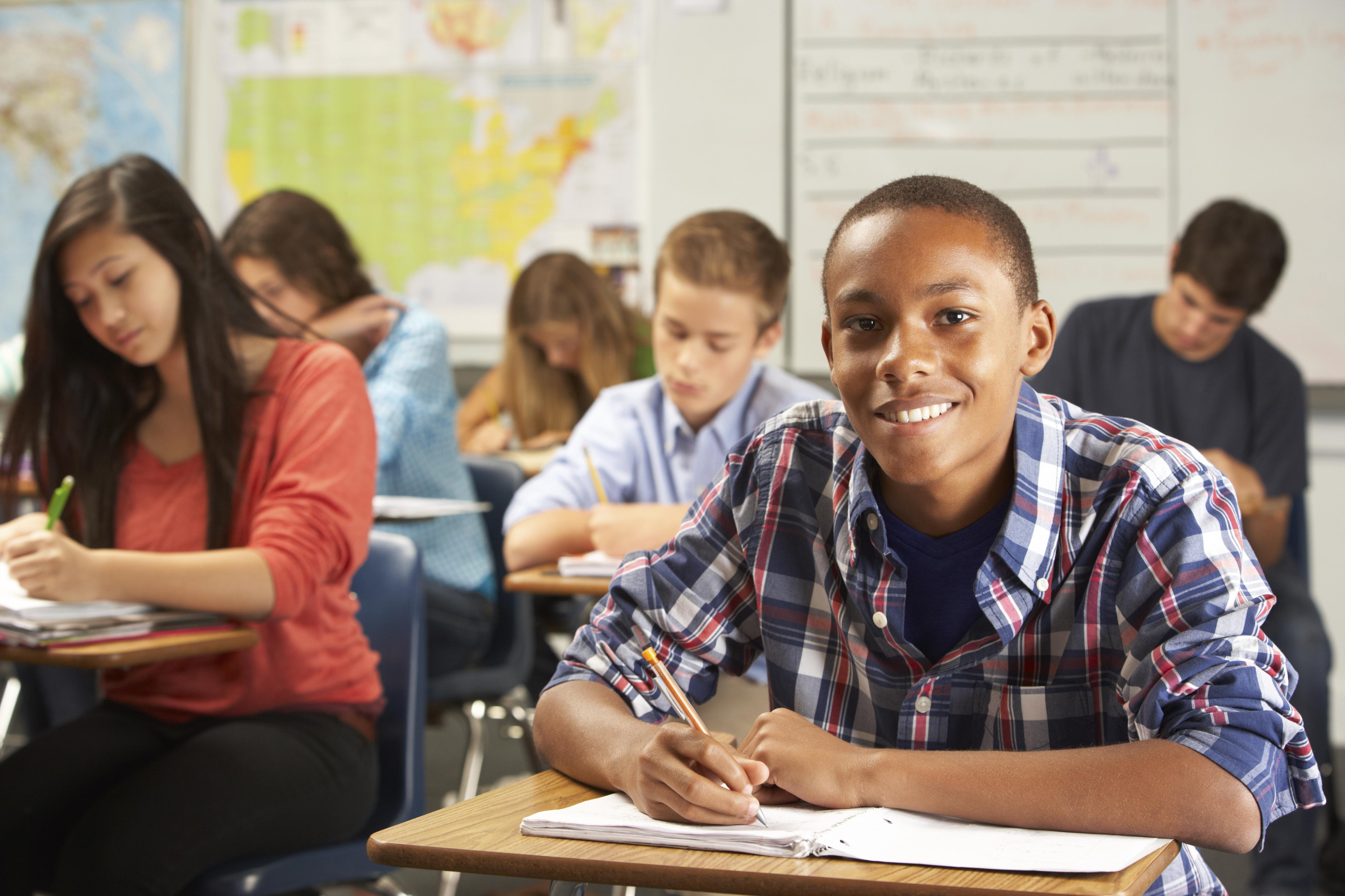 Portrait Of Male Pupil Studying At Desk In Classroom