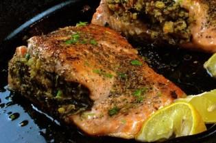 Kale Cornbread Stuffed Salmon