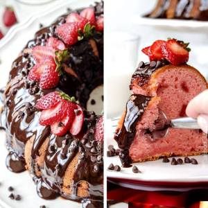 Chocolate Covered Strawberry Pound Cake