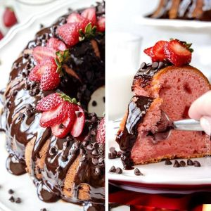 Chocolate Covered Strawberry Pound Cake