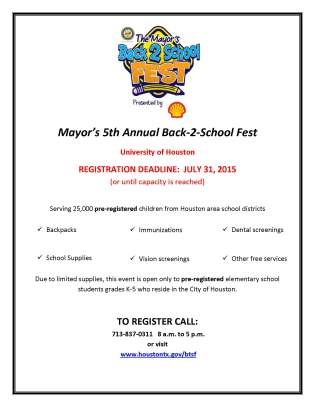 Mayor Annise Parker's 5th Annual Back-2-School Fest