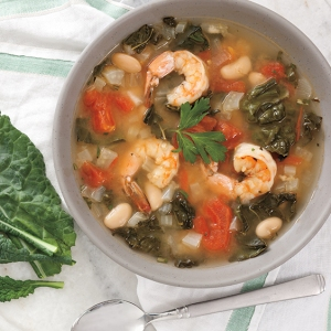 Shrimp, Tomato, and Kale Soup