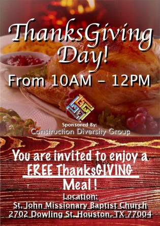 CDG Free Thanksgiving Meals