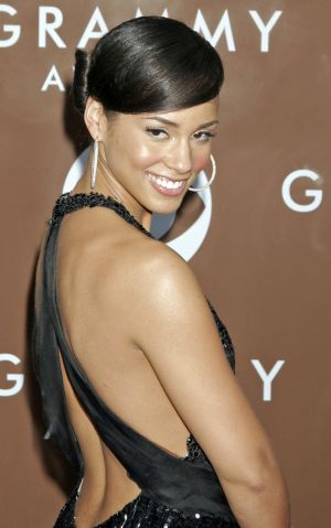 Singer Alicia Keys poses at the 48th Annual Grammy Awards at