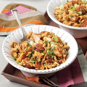 Smoked Sausage Jambalaya with Bayou Fried Chicken