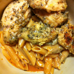 Garlic Chicken with Tomato Cream Pasta