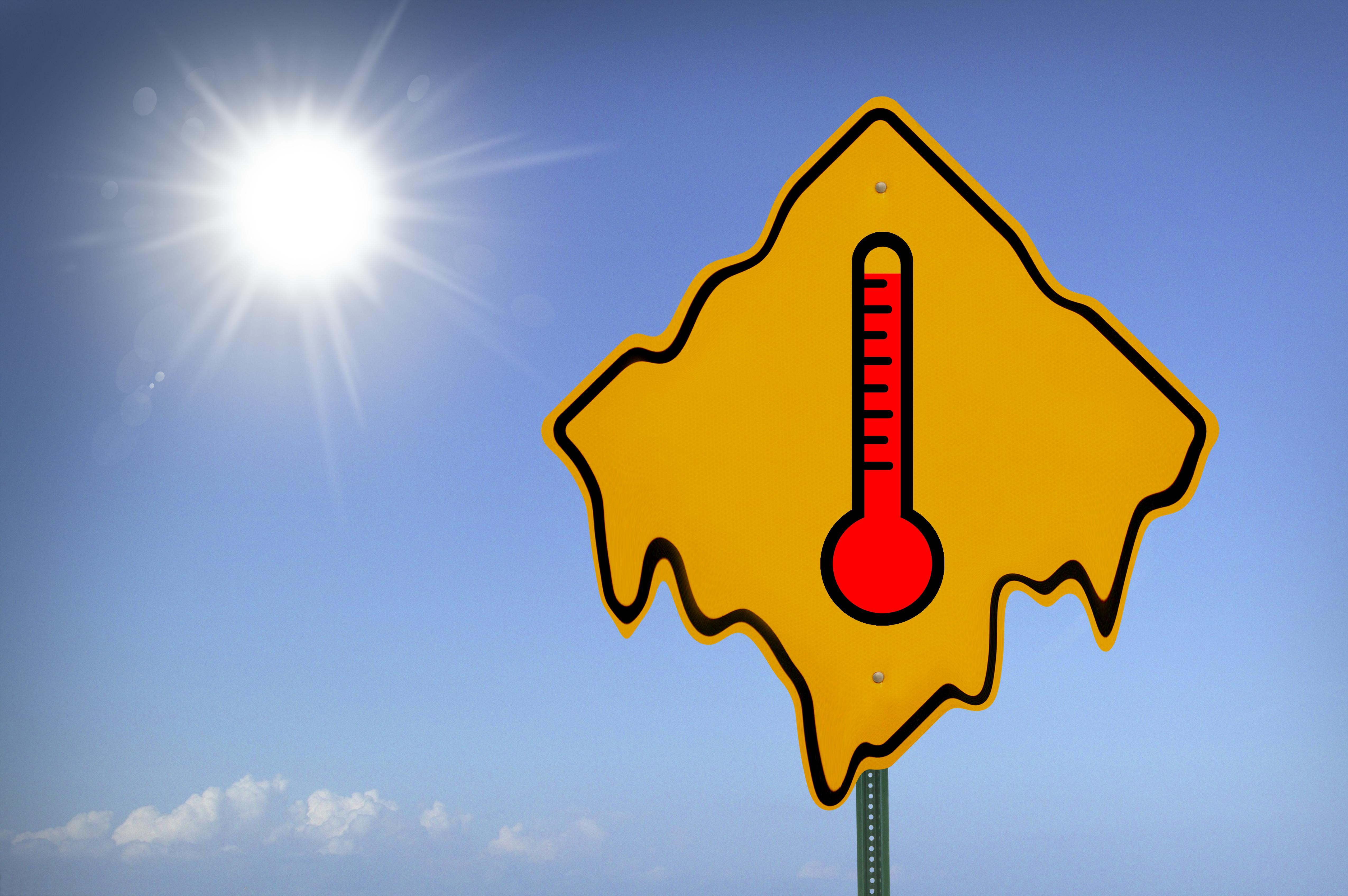 High temperature sign, close-up (digital composite)