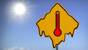 High temperature sign, close-up (digital composite)