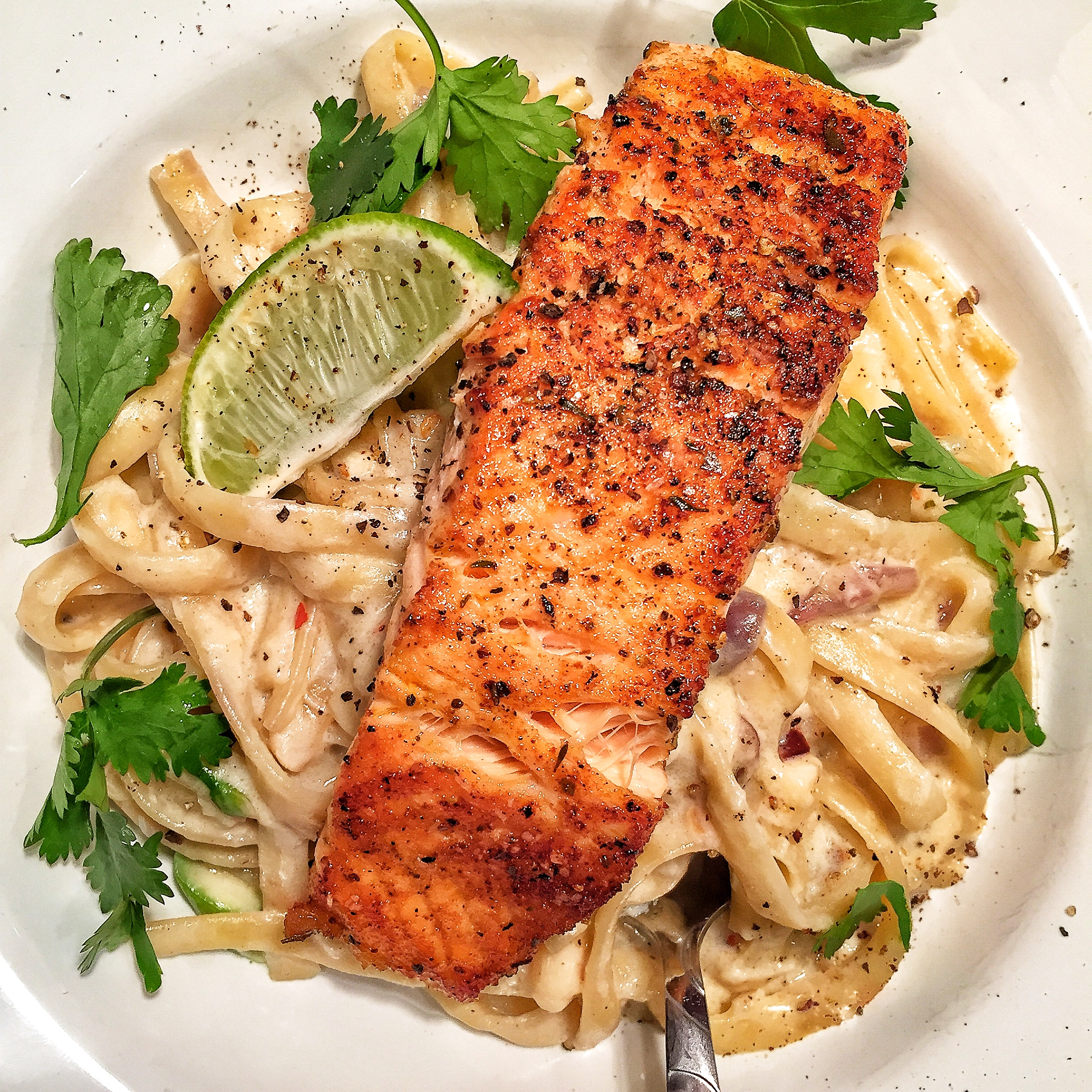 Tequila Lime Salmon & Fettuccine