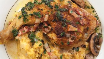 Grits with Braised Chicken and Crushed Herbs
