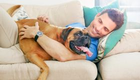 Man lying down cuddling bid dog on the sofa