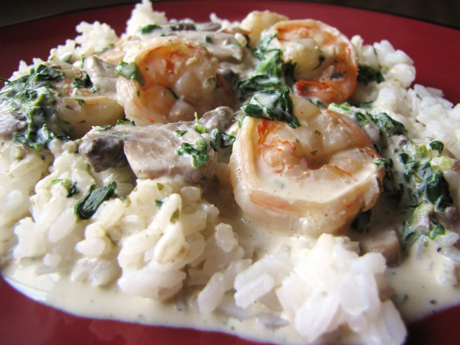 Shrimp with Mushrooms and Spinach in a Creamy Herb and White Wine Sauce