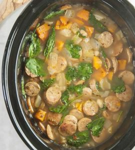 Crock Pot Sausage, Spinach & White Bean Soup