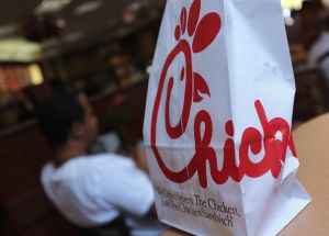 A Chick-fil-A logo is seen on a take out