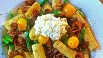 Roasted Veggie Rigatoni w/Bacon & Whipped Feta