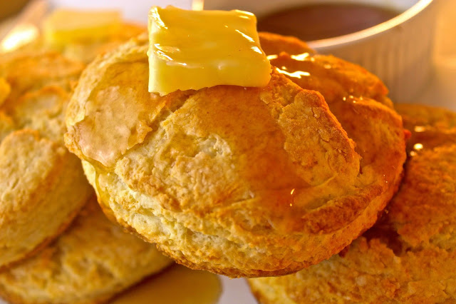 Buttermilk Pancake Biscuits with Maple Syrup Butter