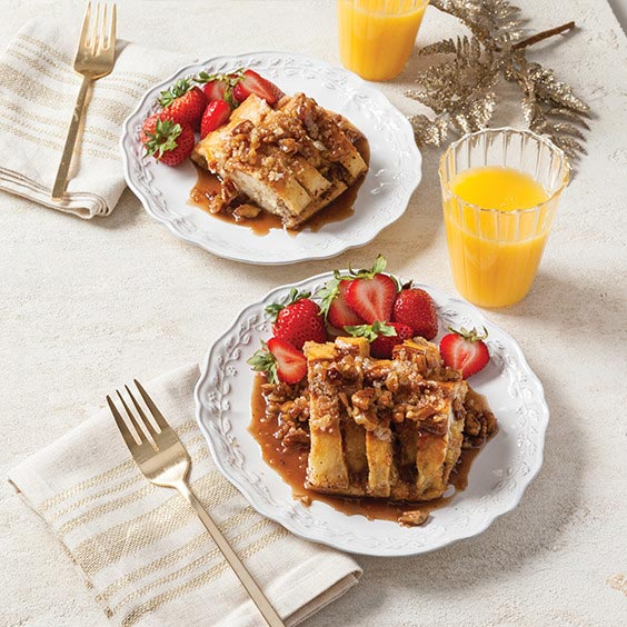 French Toast Casserole with Praline-Brandy Sauce