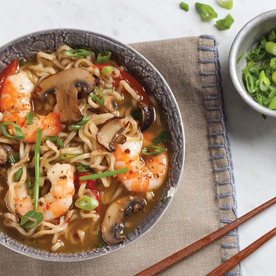 Gingery Broth with Shrimp and Green Onion