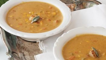 Bisque of Curried Pumpkin, Crawfish, and Corn