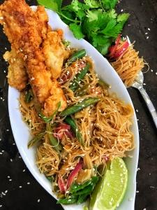 Fried Pork Chop Thai Noodle Bowl