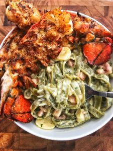 Garlic Pancetta Pasta with Grilled Lobster