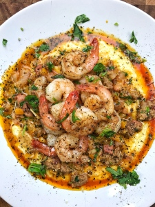 White Cheddar Grits and Shrimp