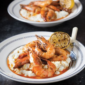 BBQ Shrimp with Hatch Green Chile Grits