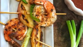 Peach Ciroc BBQ Shrimp Skewers
