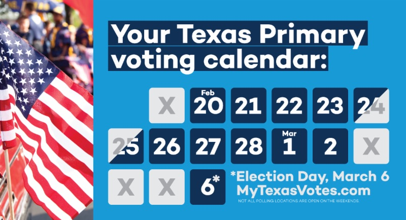Texas Early Primary Voting Calendar