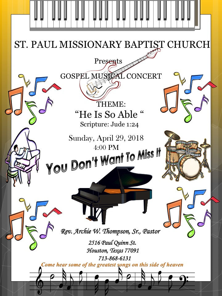 St Paul Missionary Baptist Church Annual Music Concert