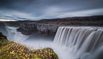 Spectacular Dettifoss waterfall with a Jökulsárgljúfur canyon in northern Iceland.