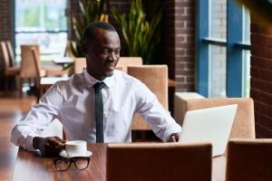 Successful businessman working in restaurant