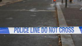 Police tape seen around the crime scene near Turnpike Lane...
