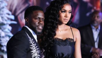 Actor Kevin Hart and wife Eniko Parrish arrive at the World Premiere Of Columbia Pictures' 'Jumanji: The Next Level' held at the TCL Chinese Theatre IMAX on December 9, 2019 in Hollywood, Los Angeles, California, United States.